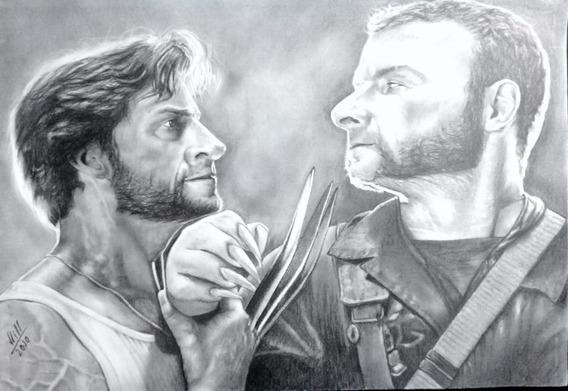 Arte Desenho Wolverine X-man (hiperrealismo) Em Grafite