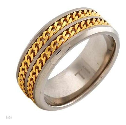 Anel Made Of 14k/ti Gold Plated Titanium-titanium