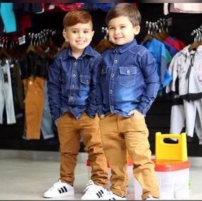 Conjunto Infantil Menino Camisa Azul E Calça Jeans Caramelo