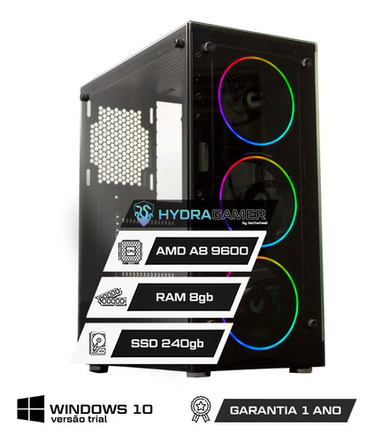 Imagem 1 de 8 de Pc Gamer Amd Athlon 3000g 8gb Placa De Vídeo Vega3 Ssd 240gb