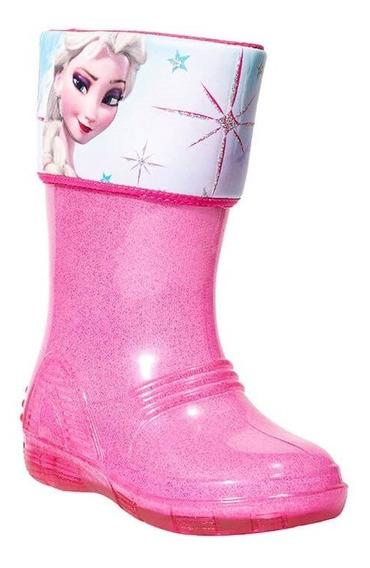 Bota Lluvia Bubble Gummers Niña Rosa Plastico Frozen Wendy
