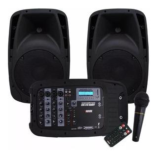 Combo Consola Novik 4 Canales Usb Bluetooth Bafle 10 Evo-410