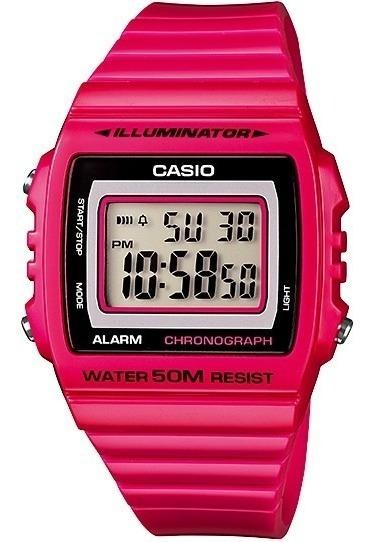 Relogio Casio W-215 H-4av Alarme Cronometro Wr 50m Rosa