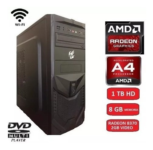 Pc Cpu Gamer Amd A4 6300 8gb Hd 1tb Wifi Fonte 500wts Real