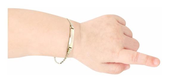 Esclava Gucci Placa En Oro Amarillo De 14k (5971)