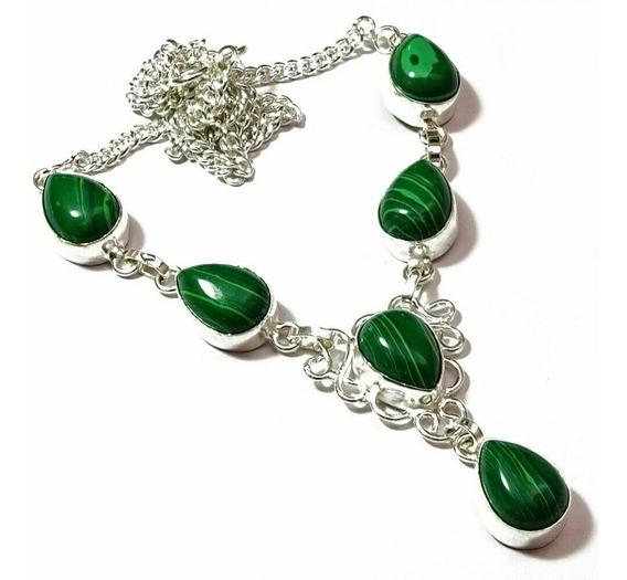 Colar Malaquita Verde (folheado A Prata) Frete Grátis