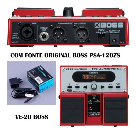 Pedal Boss Processador De Efeito Voz Ve20 + Fonte Psa-120zs
