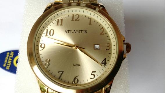 Relógio Masculino Atlantis Dourado Com Calendário