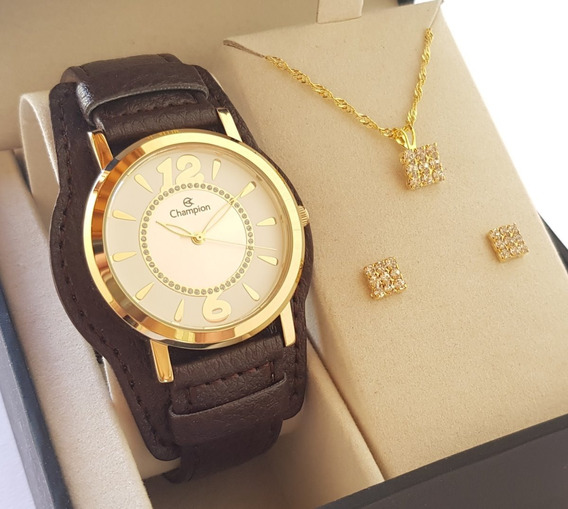 Relógio Champion Feminino Couro Luxo Original