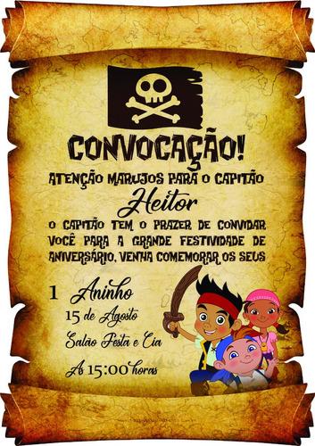 Convite Aniver Infantil Pergaminho Tema Piratas 3 - 100unid!