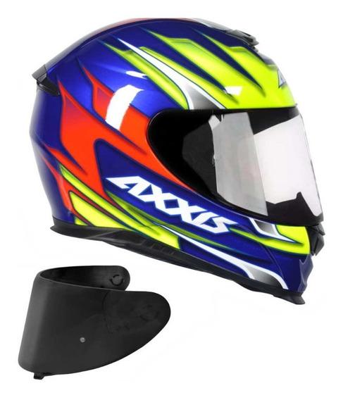 Capacete Moto Axxis Speed Azul Brilho + Viseira Fume Original