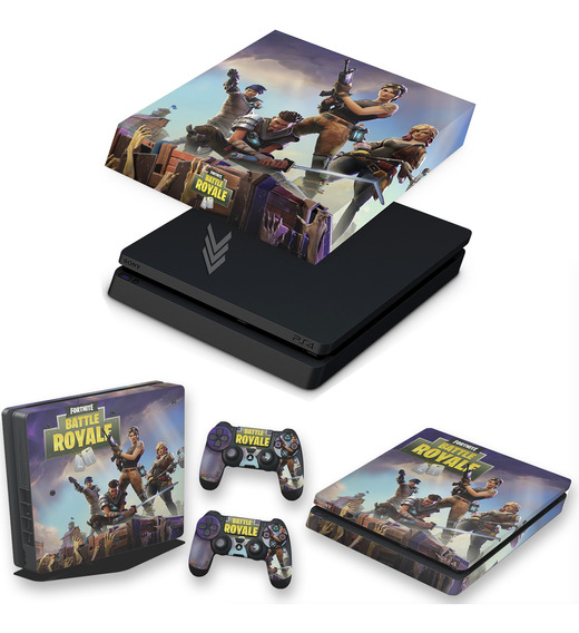 Kit Capa E Skin Ps4 Slim Play 4 Fortnite Battle Royale