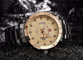 Relógio Masculino Naviforce Analógico Dourado