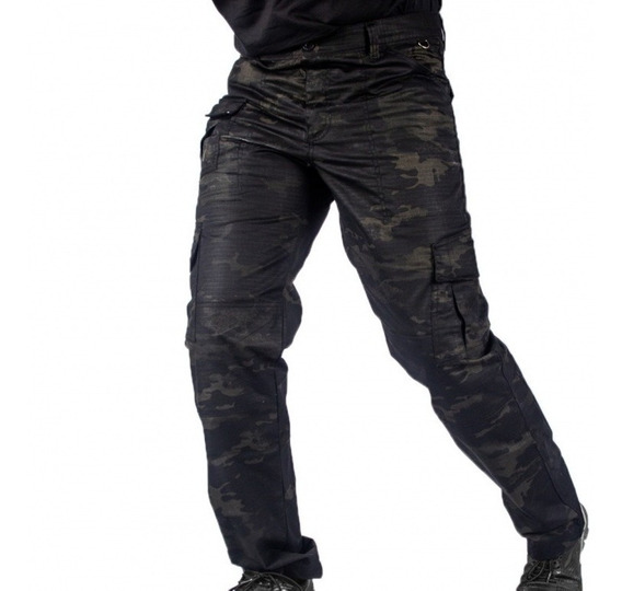 Calça Tática Ripstop Lockdown Multicam Black Bravo