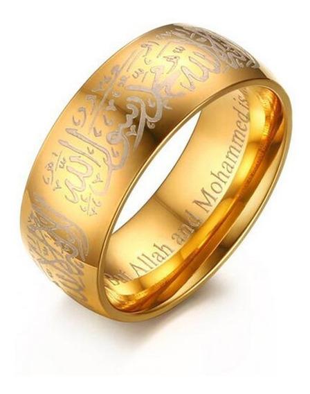 O Anel Da Fé - Anel De Allah - Aço Banhado Ouro 18k Tam. 23