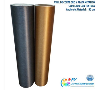 Vinil De Corte Adhesivo Oro Plata Metalico Cepillado (1mt.)
