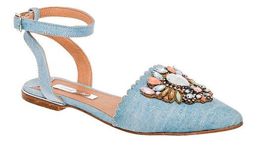 Zapato Alpargata Fiesta Mujer Azul Piedras Ankle 7348 Udt