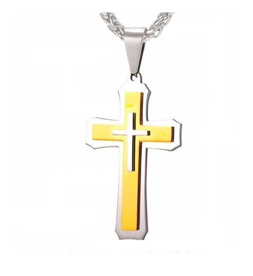 Corrente Cordão Colar Masculino Aço Inox Colar Crucifixo Top