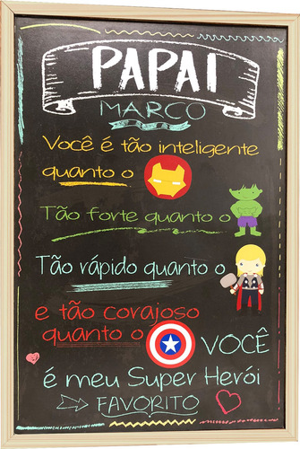 Dia Dos Pais Chalkboard Quadro Decorativo Personalizado