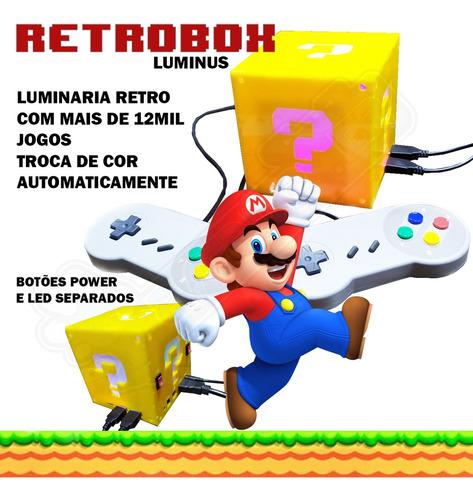 Imagem 1 de 1 de Retrobox Luminus, 20 Mil Jogos Na Memoria, Cubo Mario Rbg