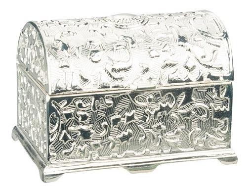 Bauzinho Caixa Porta Joias Pequeno Luxo Presente Em Zamac Prateado 6,8x5,0cm