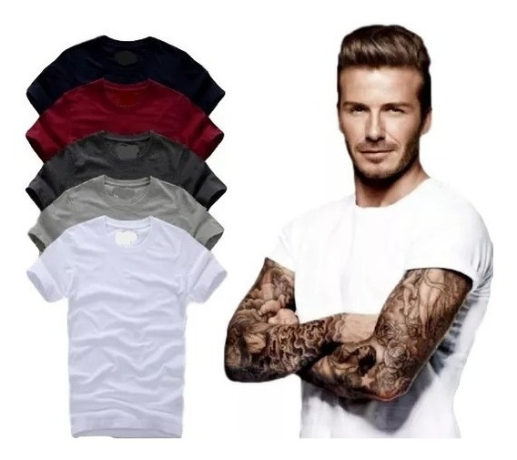 Kit Com 03 Camisa Slim Fit Camiseta Lisa - Masculina Ref 107
