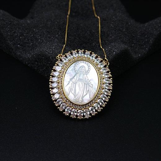Colar Mandala Nossa Senhora Das Graças Madrepérola. Banhado