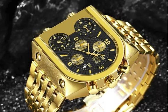 Relogio Dourado Masculino Original Luxo A Prova D