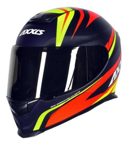 Capacete Motociclista Axxis Mt Eagle Hybrid - Azul Rbr Fosco