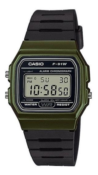 Relógio Casio Unissex Vintage F-91wm 3adf Verde Digital