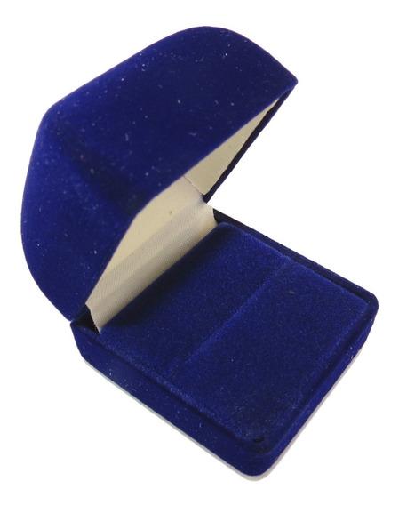 Caixa Para Anel / Quadrada (veludo) Cor Azul