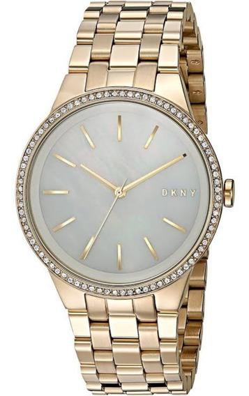Relógio Pulso Feminino Dkny Aço Dourado Madre Pérola Ny2580