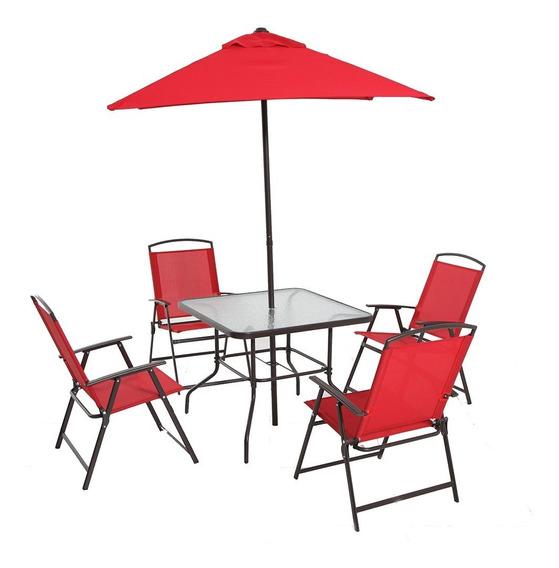 Juego De Jardín Mainstays 6 Piezas Con Sombrilla Color Rojo