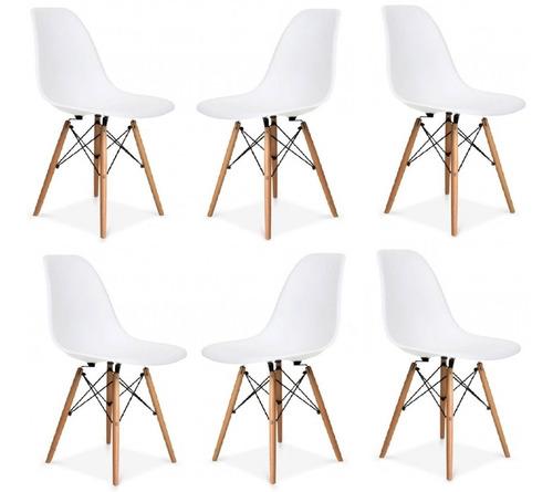 Sillas Eames Blancas Moderna Base Madera Pack X6 - Cuotas