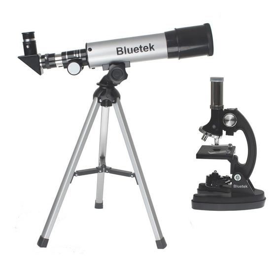 Kit Telescópio Refrator 50mm + Microscópio 300x 600x 1200x
