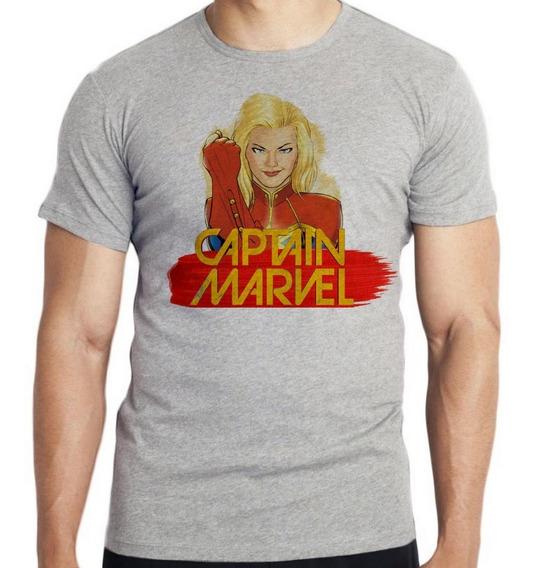 Camiseta Infantil Kids Capitã Marvel Super Heroi Feminina