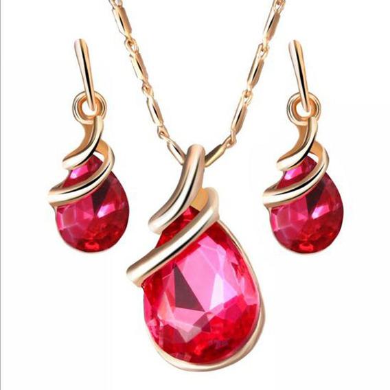 Conjunto Colar E Brinco Zirconia Pedra Rosa Quad Ouro18k