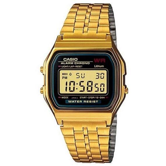 Relogio Unissex Casio Digital A159wgea-1df - Preto/dourado