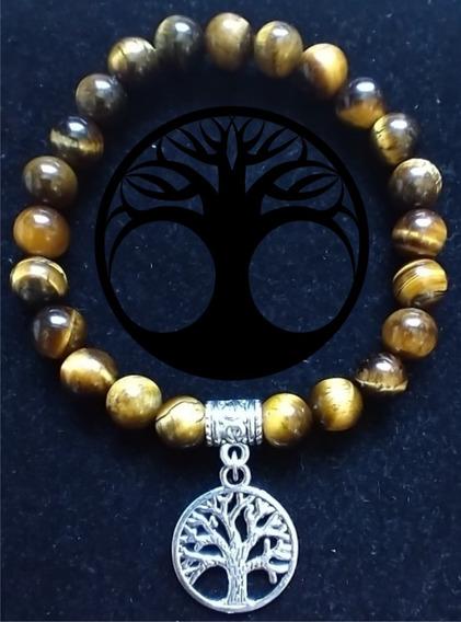 Bracelete Pulseira Árvore Da Vida Com Olho De Tigre