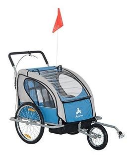 Aosom Elite 2in1 Double Child Bike Trailer /jogger - Azul
