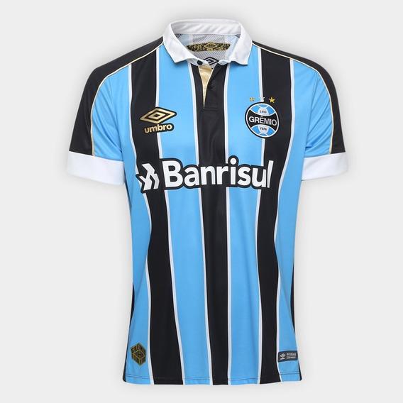 Camisa Grêmio I 2019 Azul/preto Personalizável Frete Grátis
