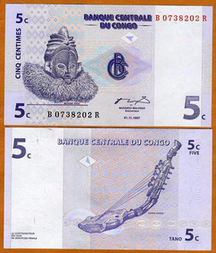 Congo (ex Zaire) 5 Centimes 1997 P. 81 Fe Cédula - Tchequito