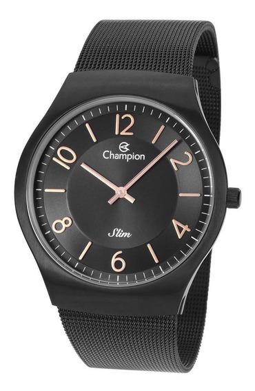 Relógio Champion Masculino Ref: Ca21848p Slim Mesh Black