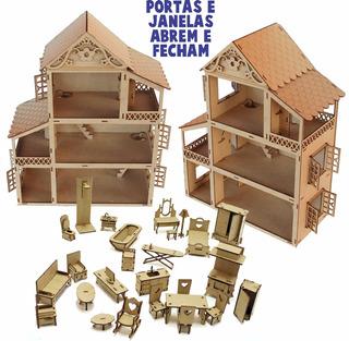 2 Casa Casinha Boneca Polly +68 Mini Móveis