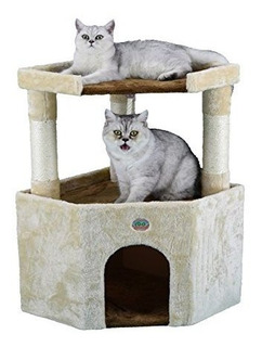 Go Pet Club Tall Beige Y Brown Cat House