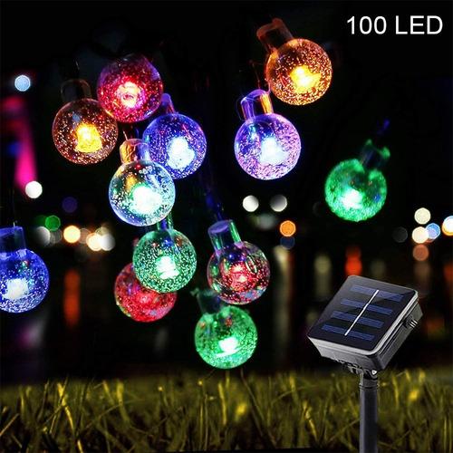 Bombilla Led Solar De Color 12 Metros 100 Luces 8 Modos