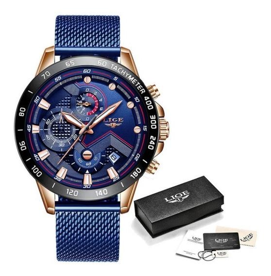 Relógios Com Aço Inoxidável Lige Marca De Luxo E Sport