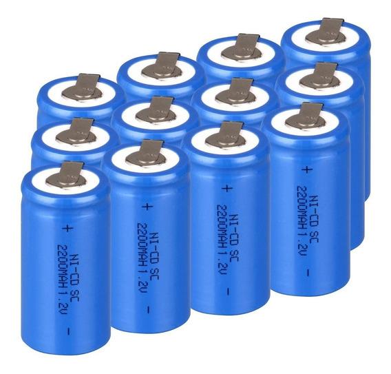 15 Bateria Recarregável Nicd Subc Sc 1.2v 2200mah C/terminal