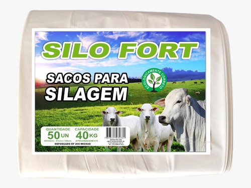 Imagem 1 de 8 de Sacos Para Silagem 51x100 - 200 Micras C/100 Unidades Branco