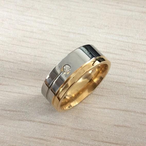 Aliança Homens E Mulheres Prata Banhada A Ouro 8mm